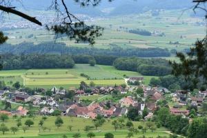 Aussicht vom Blauen-Südhang auf das Dorf Blauen.